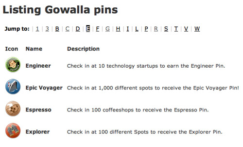 Gowalla pins beginning with E