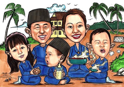 Ken's family caricature Kampung Hari Raya A3