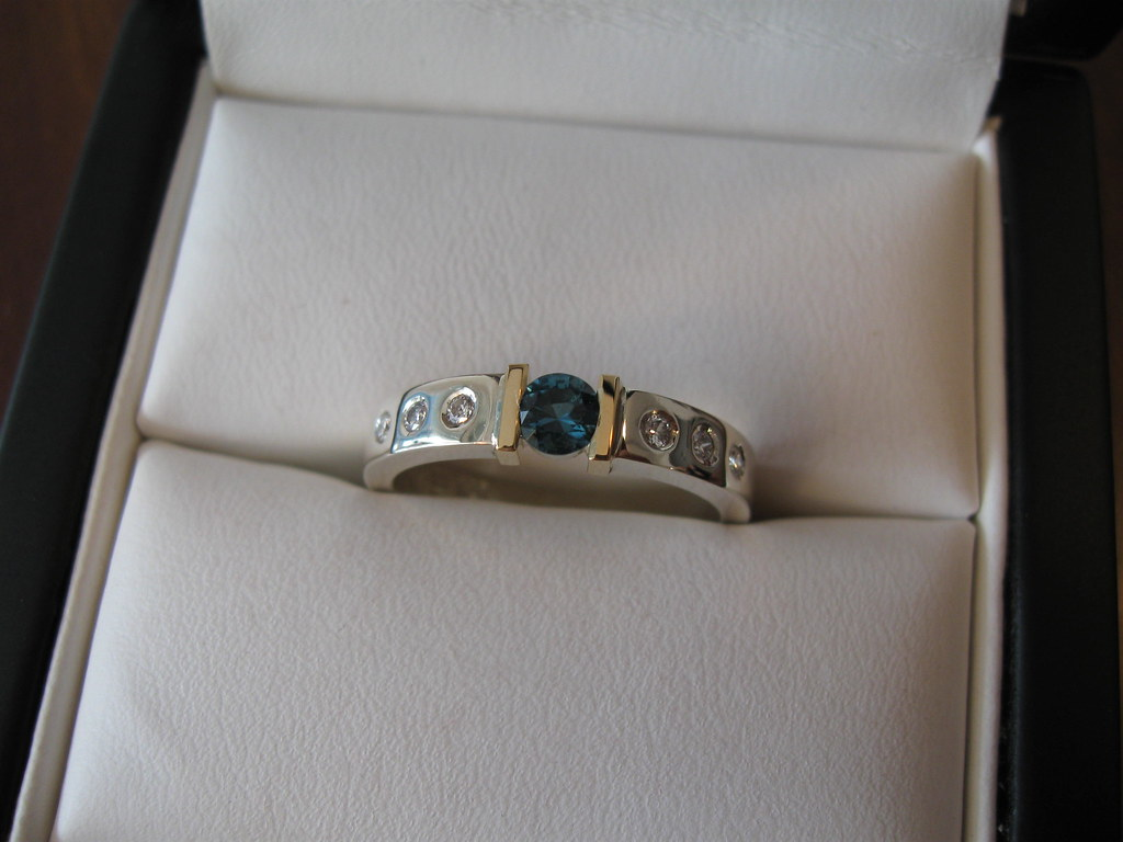 White/Yellow Gold Blue Tourmaline Ring