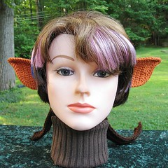 Crocheted Goblin or Orc Costume Ears with a Brown Headband