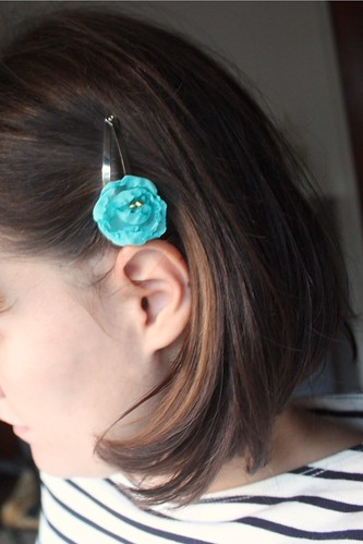 Step 7: Completed Melted Chiffon Flower Barrette