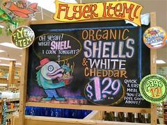 Back To School Macaroni n' Cheese (misterbigidea) Tags: shells fish art sign cheese plane chalk display joe traderjoes organic joes chalkboard cheddar macaroni trader traderjoe quickmeal fearlessflyer