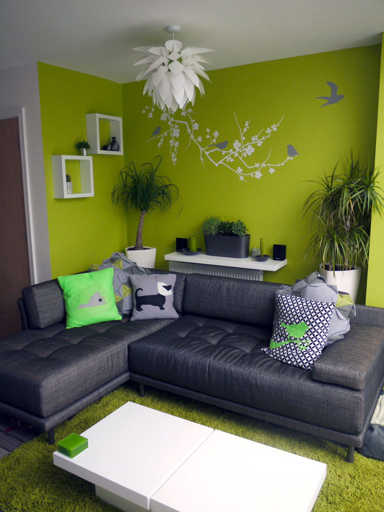 Habitat sofa with lime wall and decal