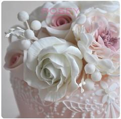Birdie wedding cake 2 (rosey sugar) Tags: pink flowers wedding cake lace