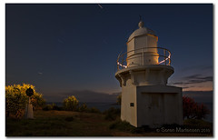 Guiding Light in the Dark (danishpm) Tags: longexposure lighthouse seascape sunrise canon dawn australia wideangle nighttime nsw aussie aus 1020mm manfrotto fingal sigmalens eos450d fingalheads 450d sorenmartensen