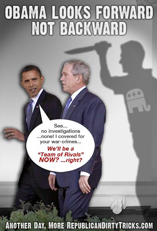 Obama Looks Forward Not Backward Stabbed in the Back Image