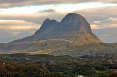 View of Suilven, Sutherland, North-west Scotland (iancowe) Tags: sunset mountain west scotland highlands nw north sutherland lochinver suilven stoer assynt