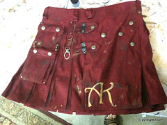 Red Military distressed Kilt (alt_kilt) Tags: men kilt buttons military khaki custom brass options twitter microsuede altkilt altkiltcom jeaniedavan