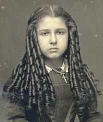 Victorian Teen with Sausage Curls Closeup (Mirror Image Gallery) Tags: sausagecurls bottlecurls victorianbeauty victorianteen