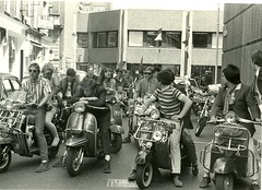 Mods on scooters in London, 1979 (Paul-M-Wright) Tags: uk london mod scooter carnabystreet 1979 mods parka paulwright secretaffair modrevival lyndallhobbs