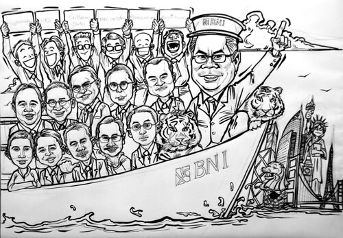 Group caricatures for Goldman Sachs - pen and brush outline