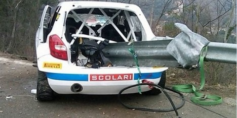 Robert Kubica's car after accident during Ronde di Andora Rally in Italy last weekend.
