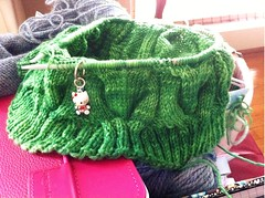 WIP - Spearmint Cowl (knittingcrush) Tags: green knitting cables cowl