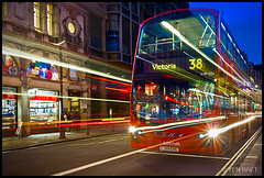 London - Piccadilly Circus, Victoria Line Bus 38 Trails (Yen Baet) Tags: street england urban bus london night photography twilight europe traffic photos piccadillycircus rushhour lighttrails bluehour metropolitan westend doubledecker cityoflondon  victorialine traillights  cityofwestminster