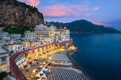 Atrani & Sunset (Luís Henrique Boucault) Tags: architecture blue colorful hour nature ocean outdoor sunset view adventure amalfi atrani beach beautiful calm campania church city coast dawn destination europe explorer exposure house italian italy landmark landscape long mediterranean mountain night panorama panoramic relax road sand scene sea seascape skyline summer tourism town travel trip village water world itália it