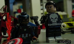 Punishment to liberty (GZer0_11) Tags: lego custom decal marvel superheroes super heroes captain america steve rogers punisher frank castle shot liberty punishment