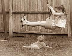Summertime Fun (janecumming33) Tags: children puppy outside swing