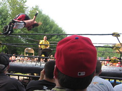 Scotty Vortekz does a spanish fly on Dysfunction thru a pane of glass!! (Vampy Destroyed) Tags: death wrestling 9 tournament combat scotty tod zone dysfunction czw vortekz