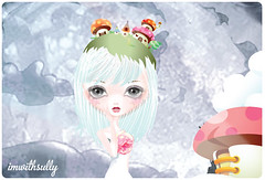 """""""Floating into the Darkness"""" illustration (imwithsully) Tags: portrait cliff cloud cute art mushroom girl illustration forest woodland mouse shoe artwork colorful kilt adobephotoshop dress darkness candy graphic sweet sassy floating fairy kawaii illustrator vector lineart bigeye adobeillustrator bigeyed gradientmesh foodwithfaces etsytwitterteam"""