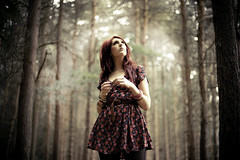 ++++++ (joshuaporter.co.uk) Tags: trees light red summer woman floral girl beautiful lady forest portraits canon woodland hair 50mm rising florence girlfriend dress natural bokeh f14 patterns stuff but treeline welch 2010 prettier joshuaporter 5dmkii charlottestrickland