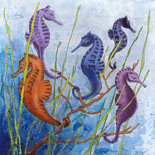 Original Acrylic Painting on illustration board Seahorses in Paradise