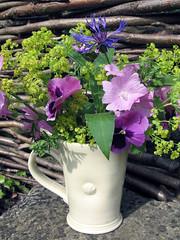 Bouquet (suzysvintageattic) Tags: flowers summer garden mosaic pansies ladysmantle