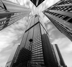 Sears (Willis) Tower, Chicago, USA: Tourist Attraction #1 (Tomasito.!) Tags: city longexposure windows sky urban blackandwhite bw panorama chicago blur tower apple glass lamp monochrome lines architecture clouds buildings macintosh interesting mac nikon power pov steel sears surreal monotone flags best stitched hdr willis touristattraction touristspot chicagoskyline d90 mostbeautiful photomatix pseudohdr 18105mm nikond90 vertorama bestcapturesaoi bestskyline mygearandmepremium mygearandmebronze mygearandmesilver mygearandmegold mygearandmeplatinum mygearandmediamond bestplacechicago