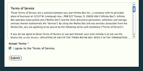accepting a terms of service agreement