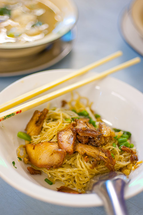 A bowl of bamee haeng muu daeng (egg and wheat noodles served with roasted pork) at Sawang, a noodle restaurant near Bangkok's Hualamphong Train Station