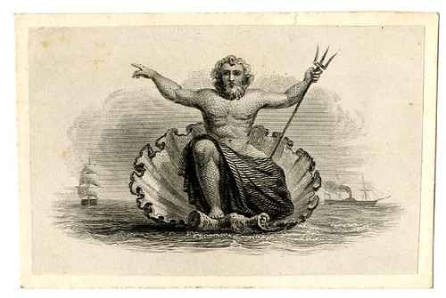 Neptune in a shell at centre. Sailing ships in the background. Design printed in black. (19th c)