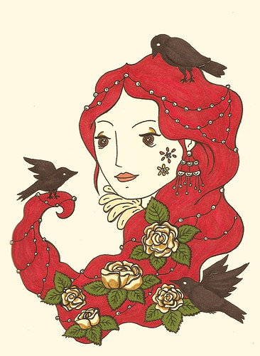 blackbirds and roses