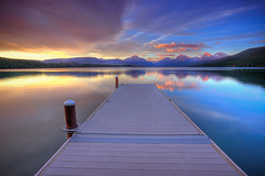 Boat Dock, Lake McDonald, Glacier National Park (Ryan C Wright) Tags: sunset sky lake reflection glass clouds nationalpark highway montana wind wideangle glacier alpine glaciernationalpark wilderness stmarylake hdr alpenglow goingtothesun boatdock avalanchelake weepingwall lakemcdonald mcdonaldcreek ryanwright ryanwrightphotography httpryanwrightphotophotosheltercom