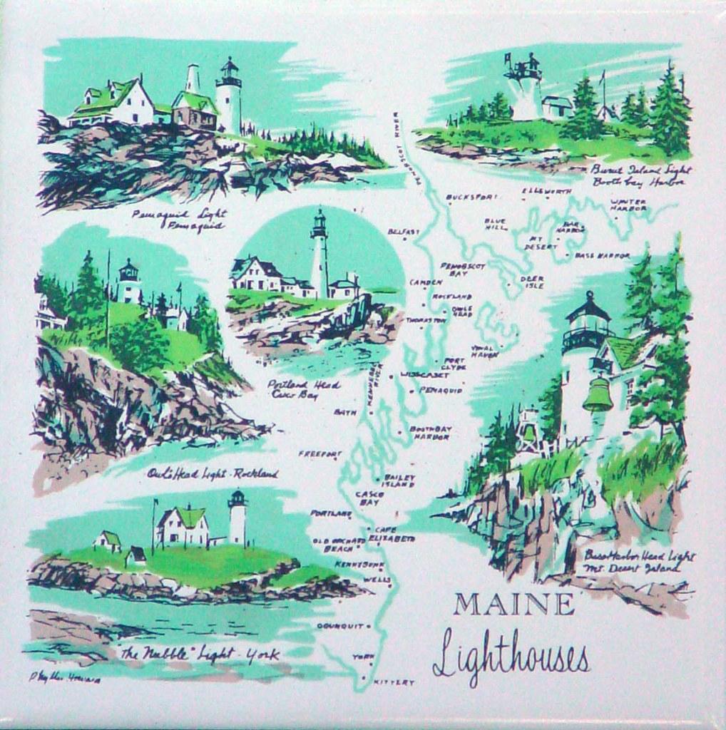 Maine Lighthouses Ceramic Trivet