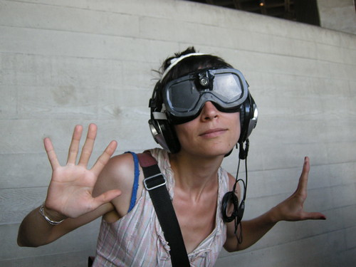 Shireen models the sonar goggles