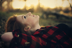 (-Fearless-) Tags: lighting trees light sunset shadow red summer portrait sun sunlight selfportrait tree girl leaves forest self person lights spring branch shadows bokeh branches boredom redhead flannel trunks lackoforiginalthoughtatthemoment