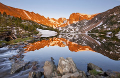 Lake Isabelle Reflection - Indian Peaks Wilderness, Colorado (Lightvision []) Tags: longexposure morning travel light sunset summer vacation mountain lake snow reflection tourism nature water beautiful horizontal creek canon landscape rockies outdoors spring apache colorado rocks stream day glow hiking indian bald nederland rocky peak continental denver boulder clear mount alpine isabelle co recreation wilderness ward peaks navajo tranquil alpenglow divide audubon traveldestination lightvision willshieh