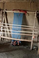 Senkrechter Webstuhl im Haus des Tuchhändlers in Haithabu WHH 11-07-2010