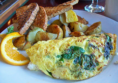 The Garden Omelette (mooshee85) Tags: food sun house home cheese breakfast oregon garden mushrooms gold restaurant cafe potatoes or wheat toast tomatoes delicious whole yukon meal vegetarian brunch dried trout sunriver fried scallions spinach feta omelette
