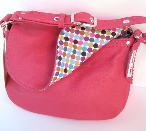 pink leather dotty perfect bag