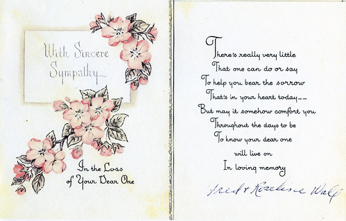 SYMPATHY CARD etiquette- April 1957 - Fred & Roseline Wall to Doris Adelaide Secker-Walls