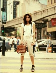 CULTURA ({miamihero}) Tags: girl hat lines leather modern standing vintage magazine bag straw cover zebra kuala crossroad kl cultura lumpur bukit bintang suspender