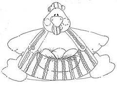 Gordinha (Luciana de Campos) Tags: galinhas riscos moldes aplicao patchcolagem