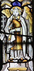 Angel Bagpiper (ceolmor) Tags: music church glass angel religious cathedral painted stained instrument bagpipes bagpiper bagpipe chanter bagpiping drone gaita dudelsack cornemuse kempe gajdy