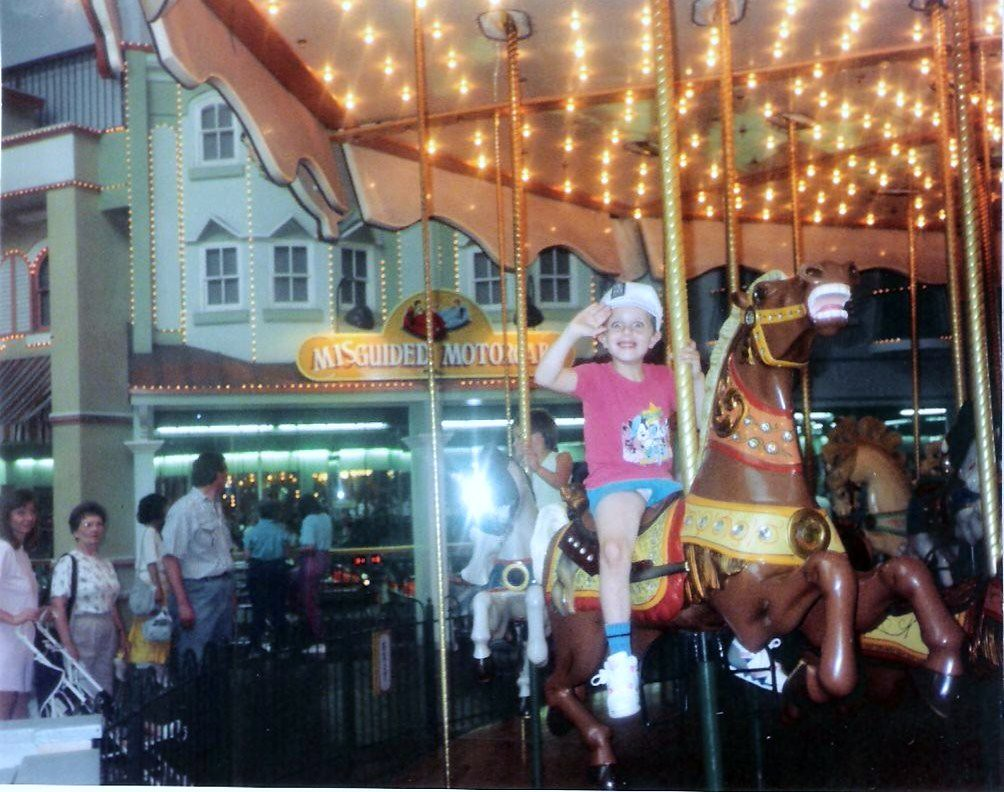 Me As A Little Kid Ridding The Merigoround 1990-1991 Me Wearing My Blue Short Shorts & Tight Mickey Mouse T-Shirt Coochie Huging Good Times.