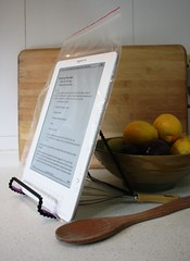 kindle in kitchen in zip top bag