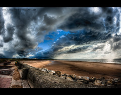 Incoming Storm (Lee Carus) Tags: uk sea sky storm beach clouds liverpool dusk sony dramatic fisheye 28 lightning alpha 16mm thunder defences wirral a900 veryveryfrightening galileogalileo