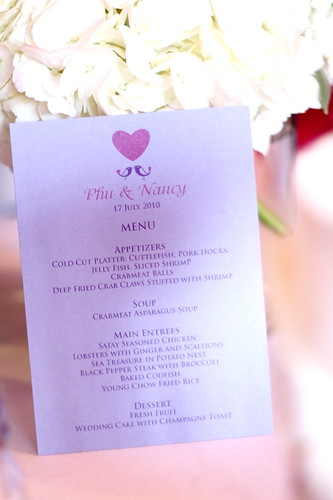 Wedding Menu for Phu and Nancy