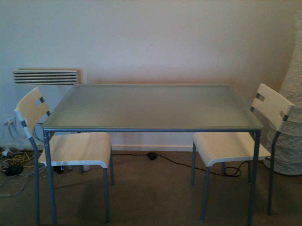 White Glass-Top Dining Table