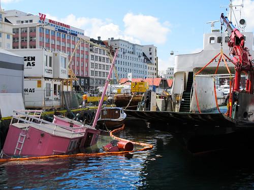 Sunken Pink Boat - Bergen, Norway