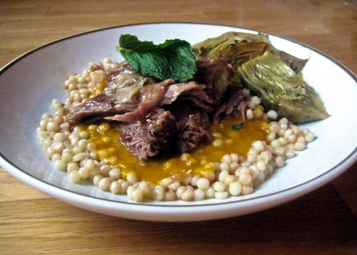 Braised Goat Shoulder and Baby Artichokes